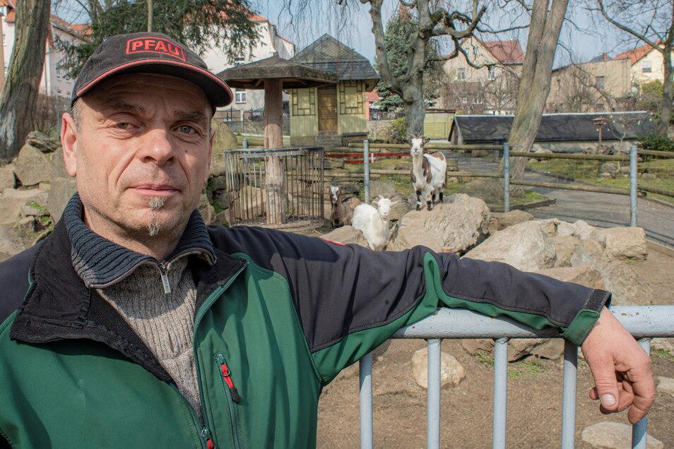 Auch in Corona-Zeiten versorgt Lutz Wendt die Tiere im Kamenzer Ziegenpark. Er hofft, dass bald wieder geöffnet werden kann.