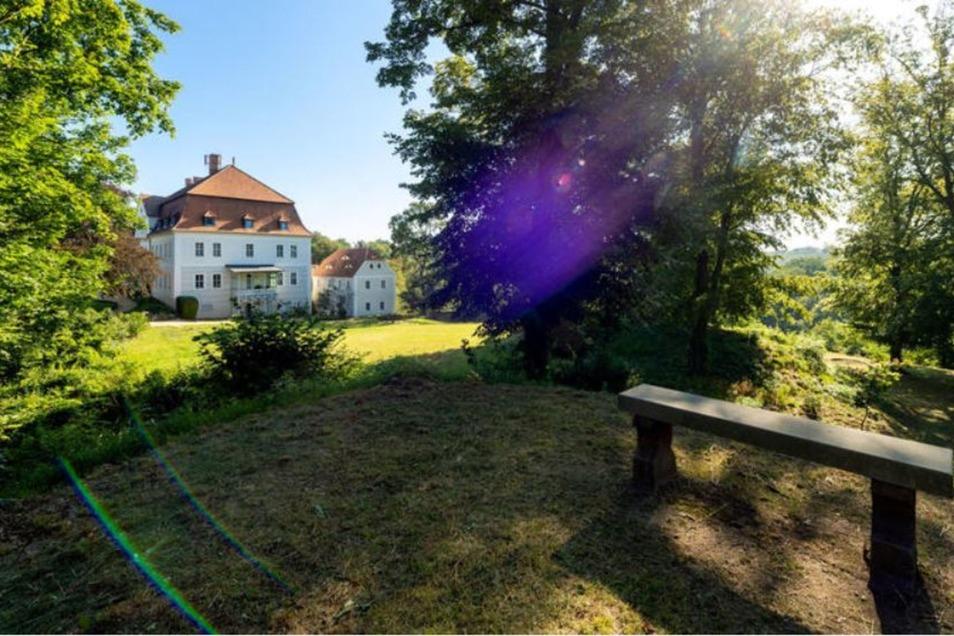 """Im südlichen Teil der Parkanlage am Schloss Gröditz finden sich die Reste einer etwa 1 000 Jahre alten slawischen Befestigungsanlage, die """"Gröditzer Schanze"""", hier mit Blick zum Schloss. Das alles muss gepflegt werden."""