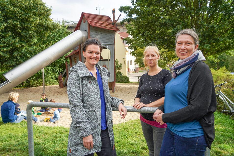 Christin Wegner, Kerstin Lawan und Antje Schierz (v.l.) engagieren sich beim Bautzener Stadtfamilienrat. Sie wollen ein Sprachrohr für Bautzens Eltern und Kinder sein.