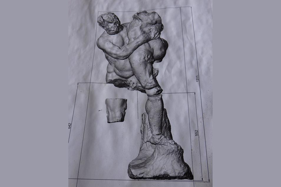 Die Zeichnung dokumentiert, was vom Herkules im Schutt der Grotte gefunden wurde.