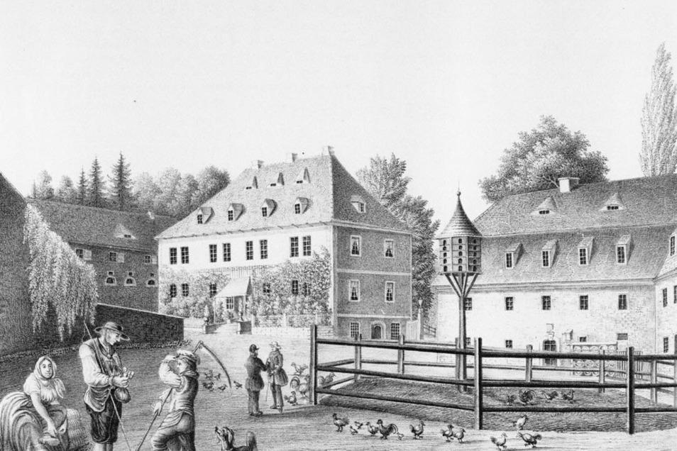 Der Rittergutshof Bärenklause, Ort des Tribunals, auf einer Lithografie von 1840.