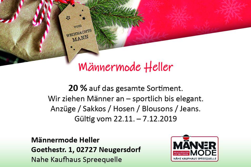 Männermode Heller, Goethestr. 1, 02727 Neugersdorf (Nahe Kaufhaus Spreequelle)