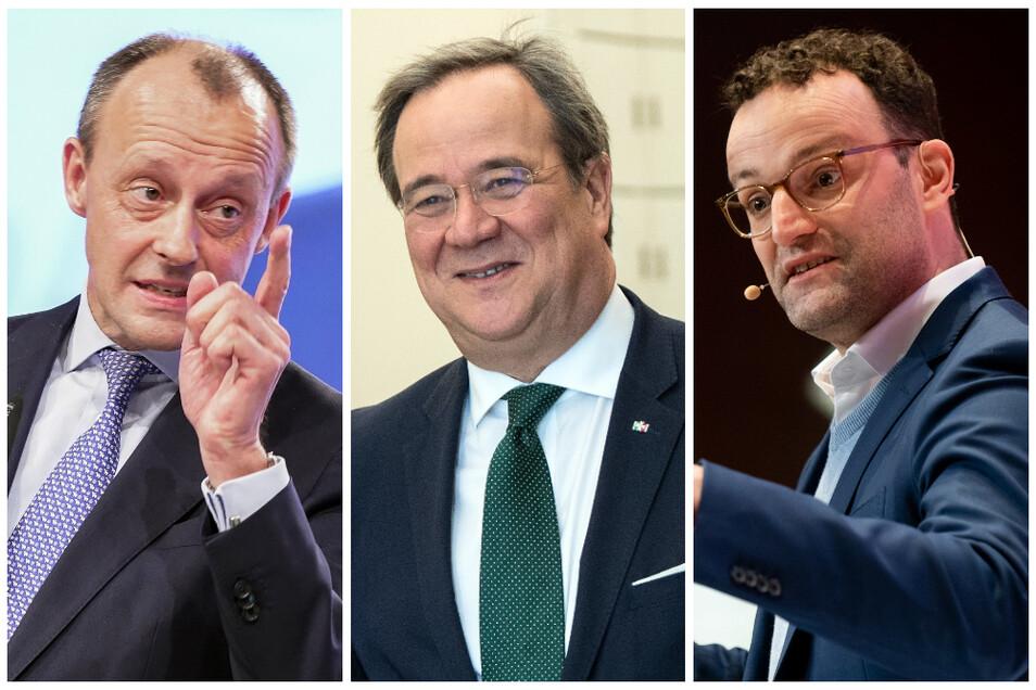 Friedrich Merz (von links), Armin Laschet und Jens Spahn könnten Das Rennen um den Chefposten in der CDU unter sich entscheiden.