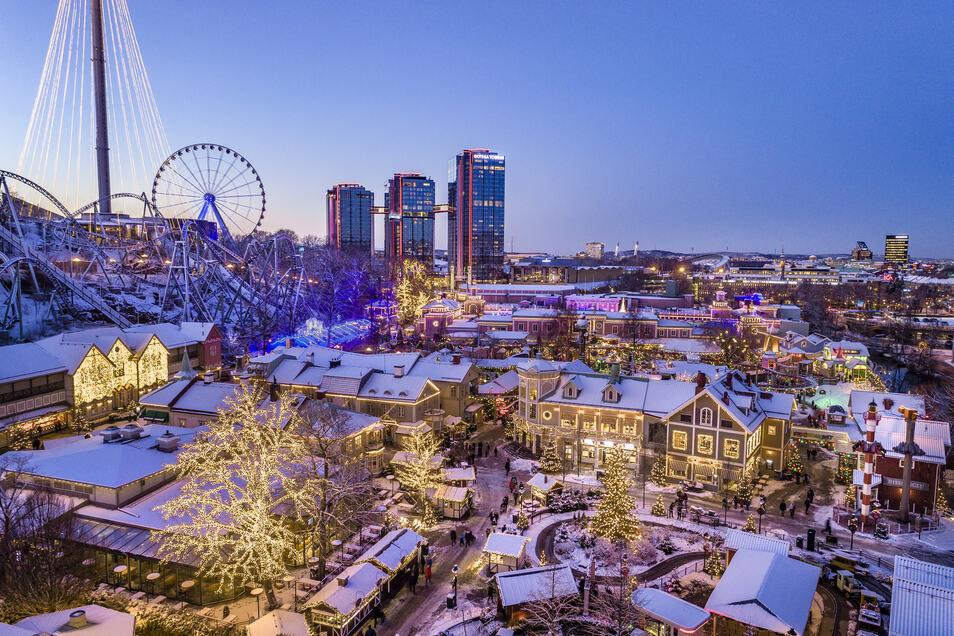 Blick auf das weihnachtliche Göteborg.