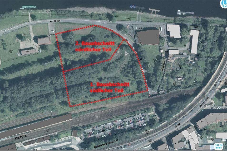 Lageplan für den geplanten P+R-Parkplatz im Pirnaer Zentrum.