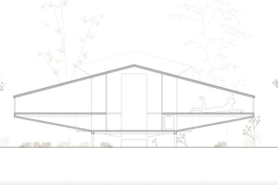 """""""Ruhelauscher"""" nennt Jakob Brinkmann seine Schutzhütte. Die Konstruktion besteht aus Dreischichtplatten, die einfach ineinander gesteckt werden können. Zwei Trichter, die das Thema """"Hören"""" ausdrücken sollen, dienen als Schlafkojen. Der Eingang ist überdacht und damit regensicher."""