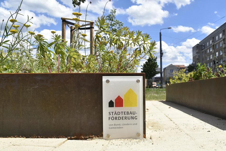 Mithilfe von Fördermitteln konnte die Stadt 450.000 Euro in die neue Grünanlage investieren.