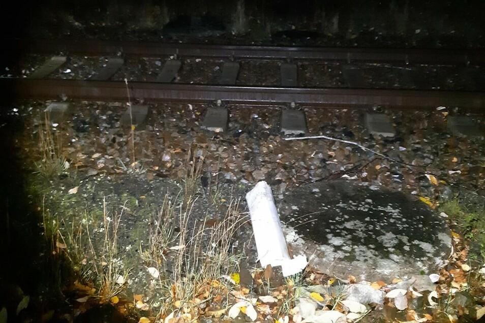 Ein Bild von der betroffenen Stelle auf den Schienen.