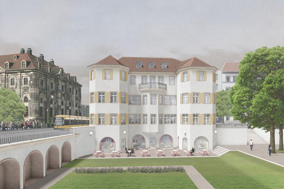 Für den Neubau des Dresdner Narrenhäusels gibt es drei verschiedene Entwürfe. Dieser kommt vom Berliner ArchitektenPontus Falk.