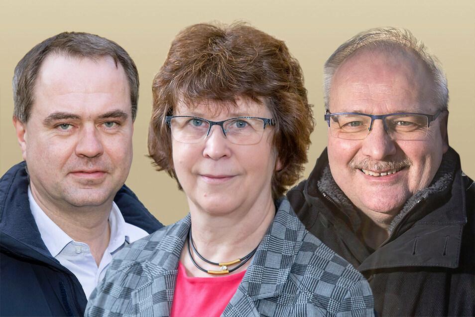 Sie hatten sich ursprünglich um das Bürgermeisteramt in Neißeaue beworben: Per Wiesner, Evelin Bergmann und Ewald Ernst (von links).