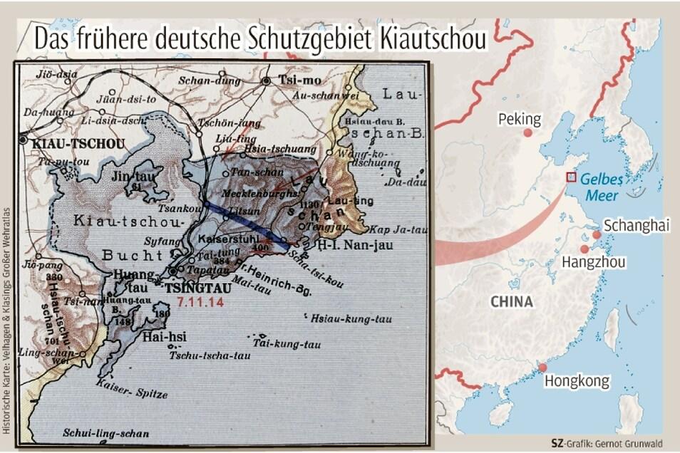 1897 besetzte die Kaiserliche Marine die Kiautschou-Bucht in Ostchina.