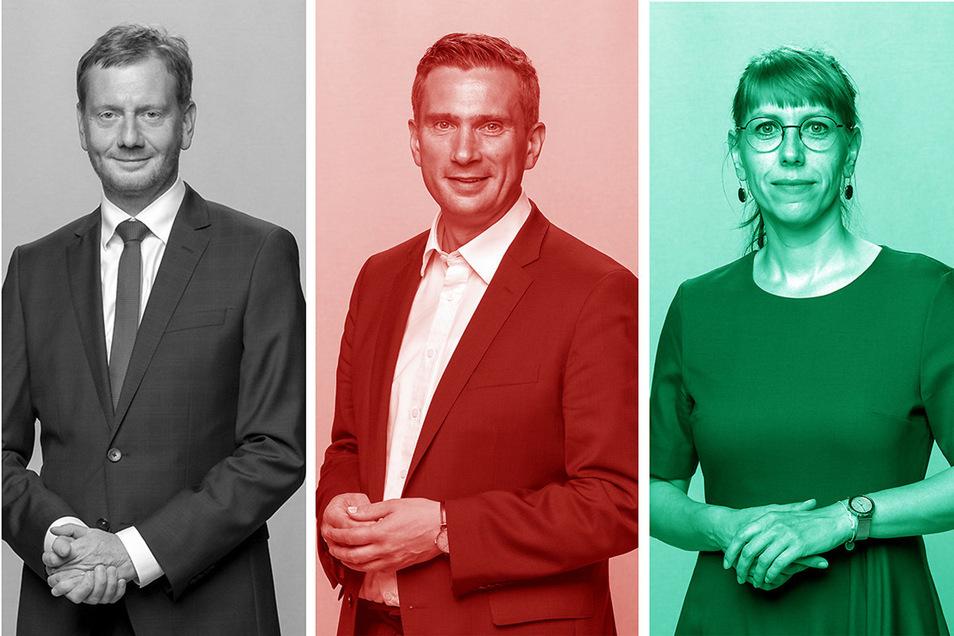 Michael Kretschmer (CDU), Martin Dulig (SPD) und Katja Meier (Bündnis 90/ Die Grünen) arbeiten in einem Regierungsbündnis, das auch Spannungen kennt.