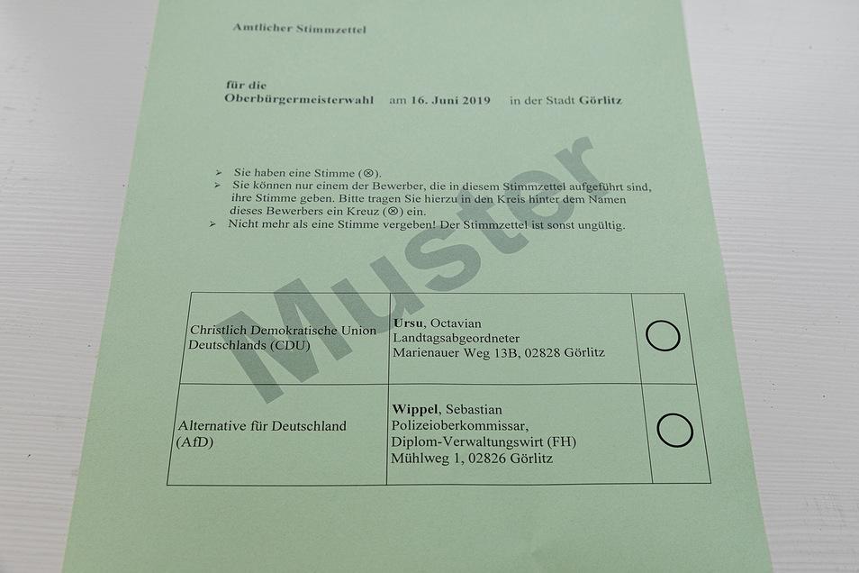 Und so sieht der Stimmzettel für alle Wähler heute in Görlitz aus.