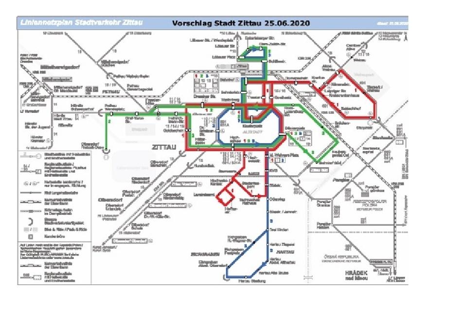 Das ist der Vorschlag der Stadt für den künftigen Netzplan des Zittauer Stadtverkehrs.