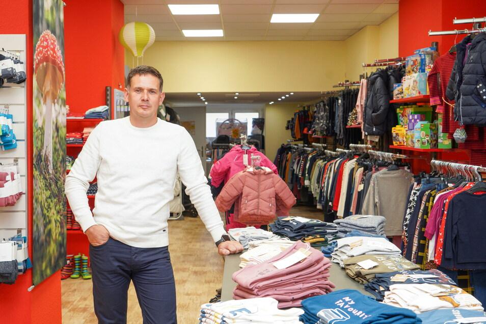 """Stefan Gerber ist mit seinem Geschäft """"Kids & More"""" jetzt auf die Bautzener Reichenstraße umgezogen."""