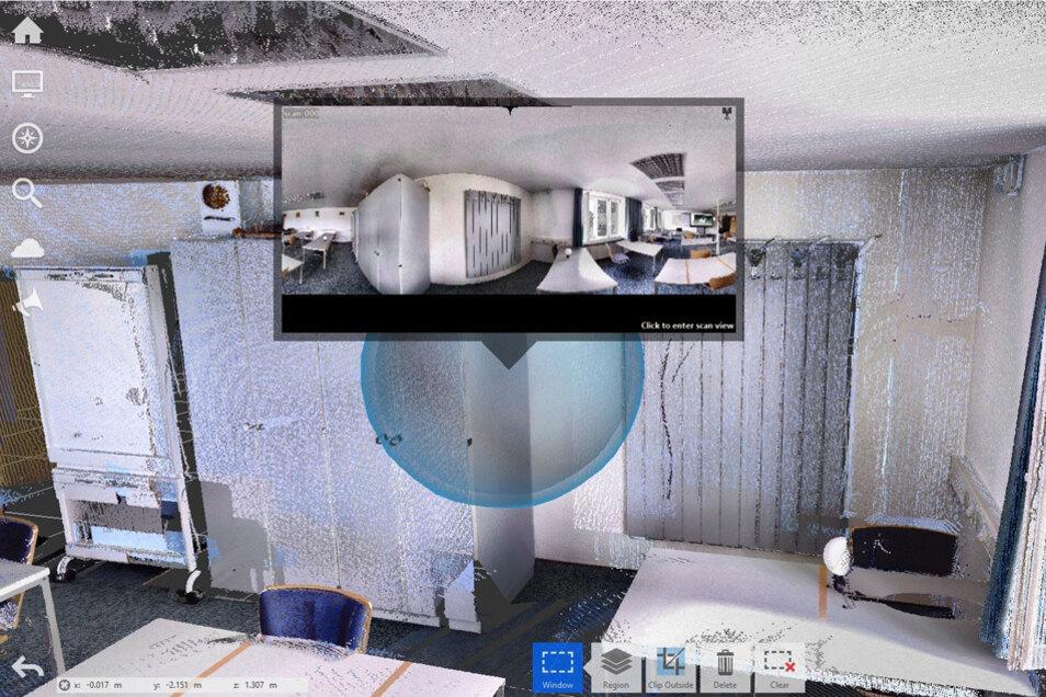 Die durchschnittliche Aufmesszeit für ein Zimmer beträgt mit dem Laserscanner nur ca. vier Minuten. Perspektivisch werden die 3D-Modelle mit andern Gewerken vereint und mit vielen anderen Informationen bestückt (Elektro/Wasserleitungen, Schalter, Dübel usw.), welche die Handwerker für ihre Arbeit benötigen.