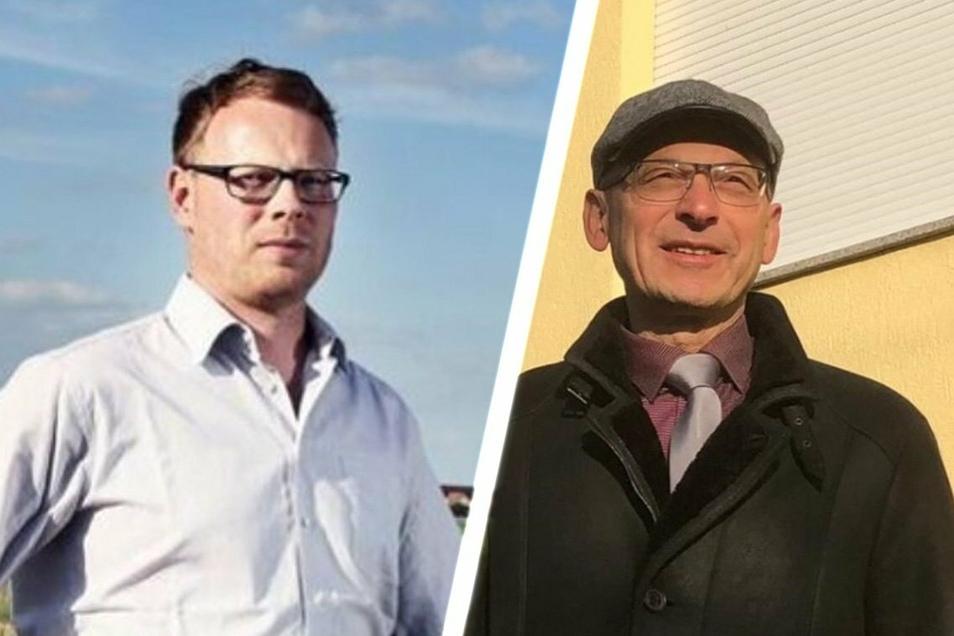 Die bisherigen Kandidaten für die Nachfolge von Ralf Hänsel als Zeithainer Bürgermeister: links Mirko Pollmer aus Promnitz (BIG), rechts Matthias Busse aus Gohlis (CDU).