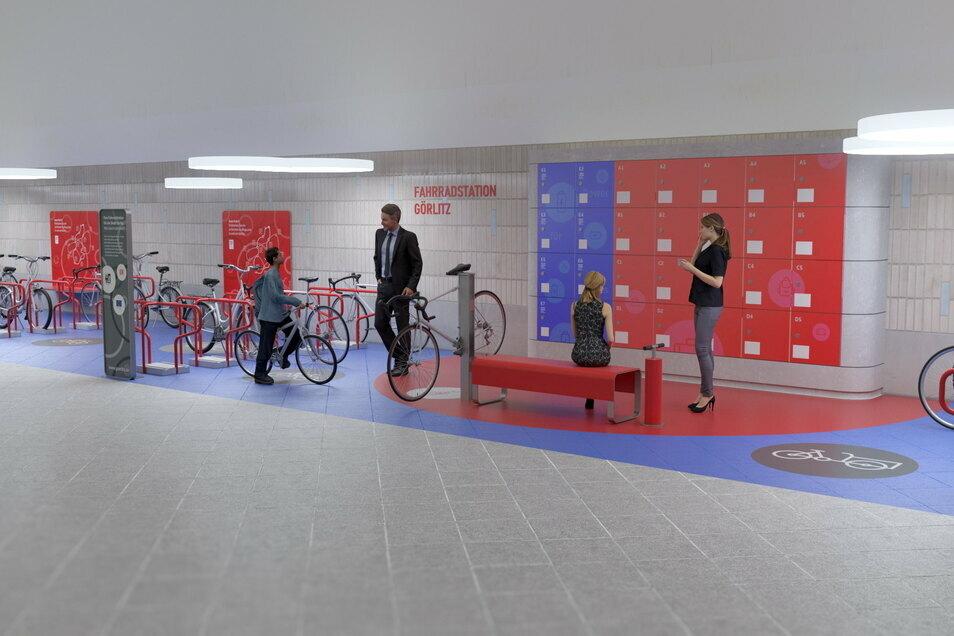 Der Durchgang im Bahnhof Görlitz wird schöner und heller. So soll die fertige Fahrradstation einmal aussehen.
