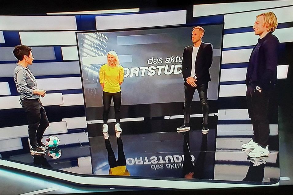 Der Auftritt im ZDF-Sportstudio war aus Zeitgründen sehr, sehr kurz. Kathleen Freude (2. v.l.) trat gegen die RB-Profis Emil Forsberg (r.) und Peter Gulasci an.