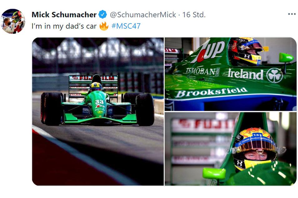 Für den Dreh eines Features für den Fernsehsender Sky hat sich Mick Schumacher in das Rennauto gesetzt, mit dem 1991 sein Vater in der Formel 1 debütierte.