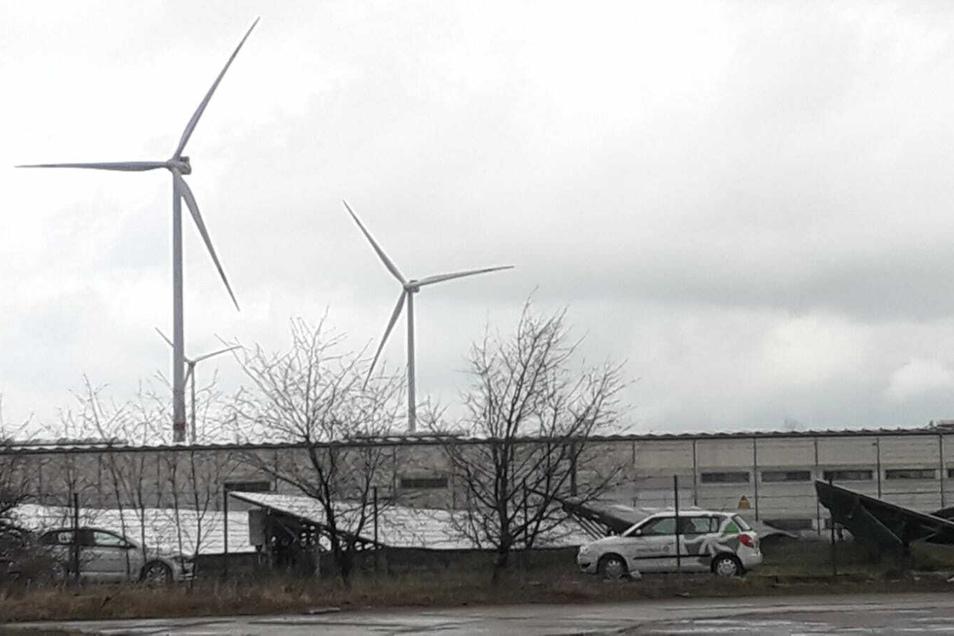Mitarbeiter der Firma Sachsen-Energie waren diese Woche im Solarpark unterwegs.