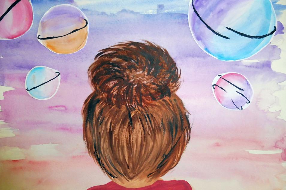 """Juliane Heinke taucht in ihrem Aquarell-Bild in eine kunterbunte """"Traumwelt"""" ein. Die Neuntklässlerin ist der Ansicht: """"Ich finde, dass man Träumen keine Grenzen setzen kann. Sie gehen über das Universum hinaus."""""""