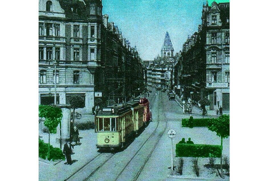 Erst fuhr die Bahn über Leipziger und Rauschwalder Straße, ehe die Gleise 1931 auf Brautwiesenplatz und Brautwiesenstraße kamen. Diese Aufnahme stammt von 1961.