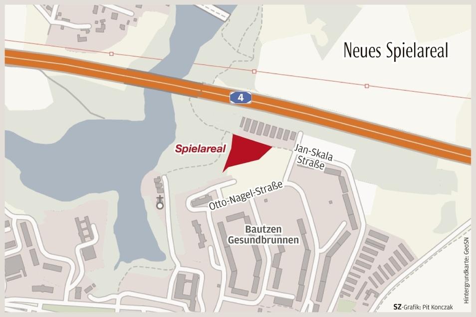 Der neue Spielplatz befindet sich nördlich der Otto-Nagel-Straße im Bautzener Stadtteil Gesundbrunnen.