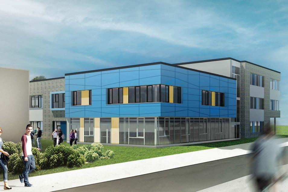 Der künftige Schulkomplex aus Neubau und Bestandsbauten soll mit einer Kombination aus Pellet- und Gasheizung betrieben werden.