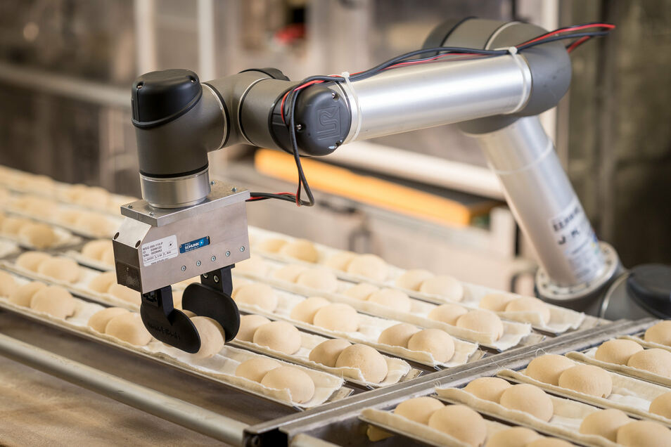 Ein Roboterarm sortiert in einer Görlitzer Bäckerei Brötchen: Das Start-up Wandelbots ermöglicht es, dass jedermann Industrieroboter benutzen kann, auch wenn er nicht programmieren kann.