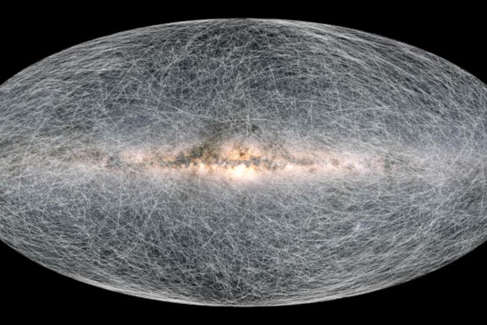 Diese Zusammenstellung der Gaia-Daten zeigt die berechnete Bewegung von 40.000 Sternen in unserer Nähe in den nächsten 400.000 Jahren.