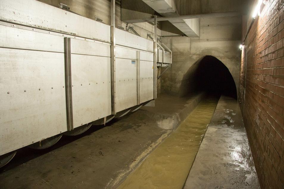 Hinter dem Altstädter Ende der Carolabrücke hat die Stadtentwässerung dieses unterirdische Bauwerk errichtet. Bei Regen können unter dem Rathenauplatz bis zu 4.100 Kubikmeter Abwasser gestaut werden. Somit läuft es nicht in die Elbe über.