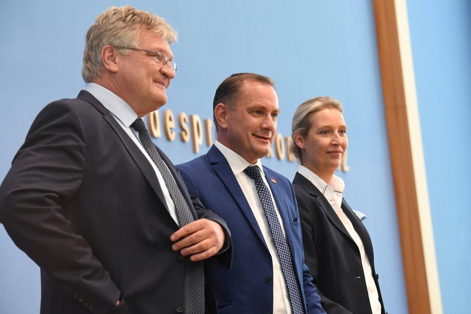 Häufig uneins: Tino Chrupalla (M), Alice Weidel und Jörg Meuthen