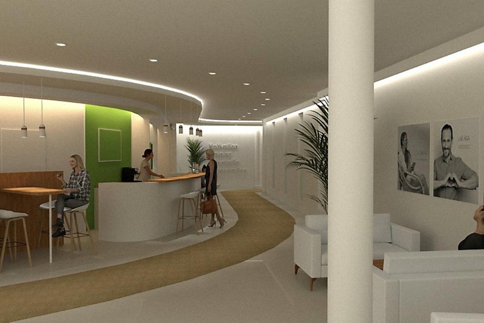 Der Eingangsbereich des Studios ist aktuell Baustelle, wird komplett umgestaltet. Dieser Computer-Entwurf zeigt, wie es nach der Fertigstellung aussehen soll – ein wenig nach Hotel.