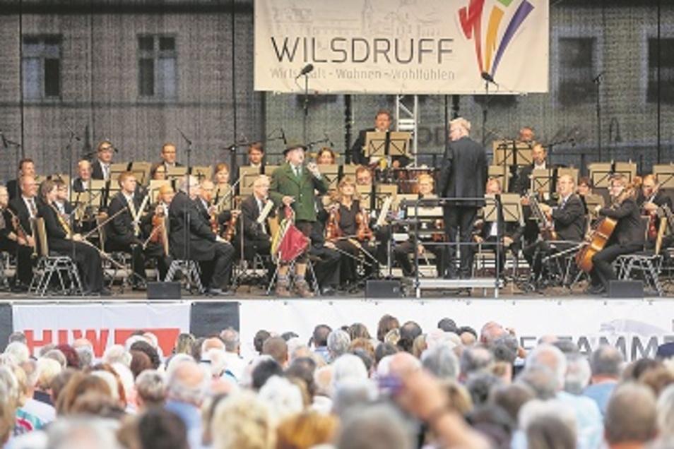Zum Wilsdruffer Stadtfest gastierten am Sonnabend die Elbland Philharmonie und Tom Pauls.