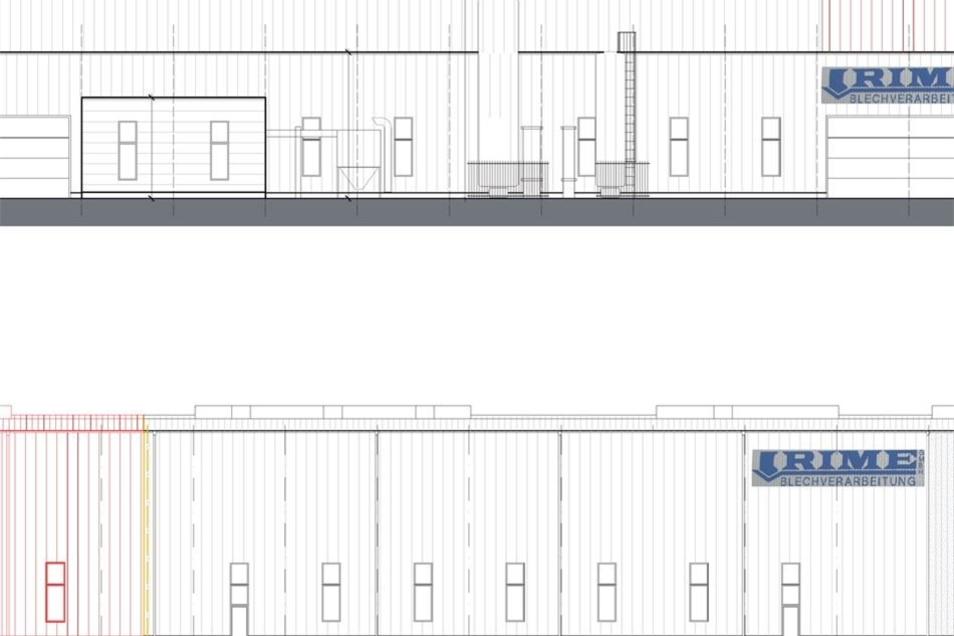 Die Visualisierung zeigt die geplante Erweiterung der Rime-Halle. Grau ist der vorhandene Bestand, rot der Neubau dargestellt. Die obere Ansicht zeigt das Gebäude von der Seite Schönbergstraße, die untere die Ansicht von der Lauchhammerstraße.