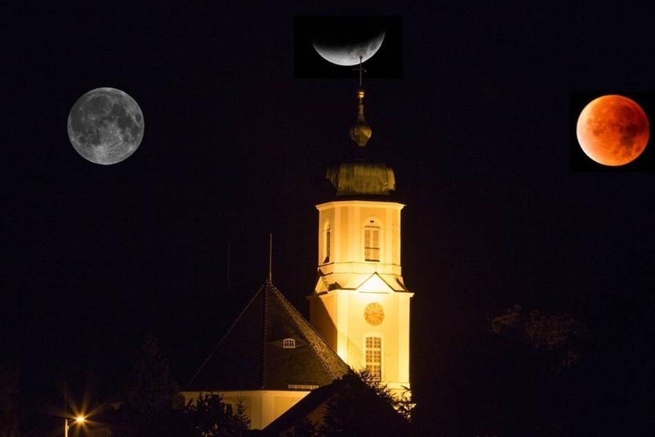 Für diese Bilder stand so mancher am Montagmorgen ganz besonders früh auf: Die totale Mondfinsternis war trotz einiger Wolken auch über dem Landkreis Bautzen recht gut zu sehen. Die Fotomontage zeigt den Blutmond über der Autobahnkirche Uhyst.