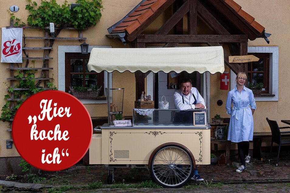 Eis aus dem Wagen verkaufen? Stephan Fröhlich und seine Frau Nadine von der Freitaler Brasserie Ehrlich haben einen lange gehegten Plan verwirklicht.