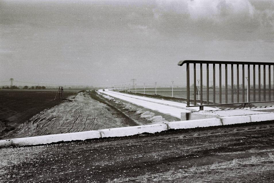 Die Pfähle neben der Autobahn wurden für eine Stromleitung gesetzt, die aber nicht rechtzeitig fertig wurde..