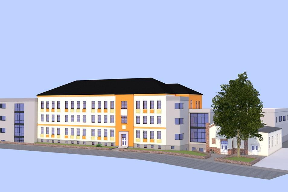 So soll die Zille-Oberschule erweitert werden: Das Kopfgebäude (links) wird zuerst gebaut. Danach kommt der neue Verbindungsbau zwischen Altbau und der jetzigen Turnhalle. Diese wird zur Mensa umgebaut. Die neue Sporthalle dahinter kann nach dem derzeitig
