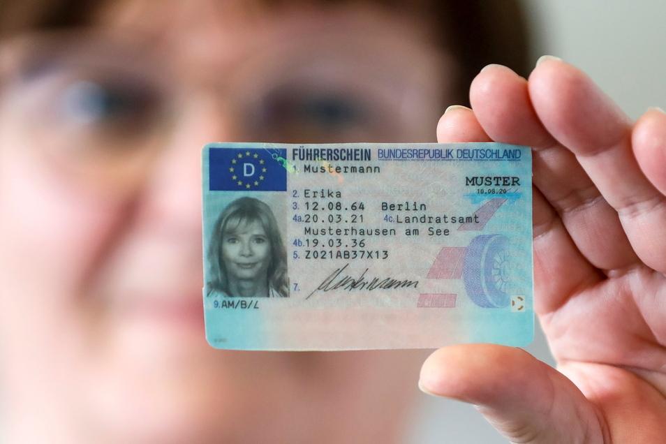 So sieht der neue EU-Führerschein aus. Ute Augustin, Sachgebietsleiterin der Fahrerlaubnisbehörde im Landratsamt, hat schon viele Umtauschanträge bearbeitet.