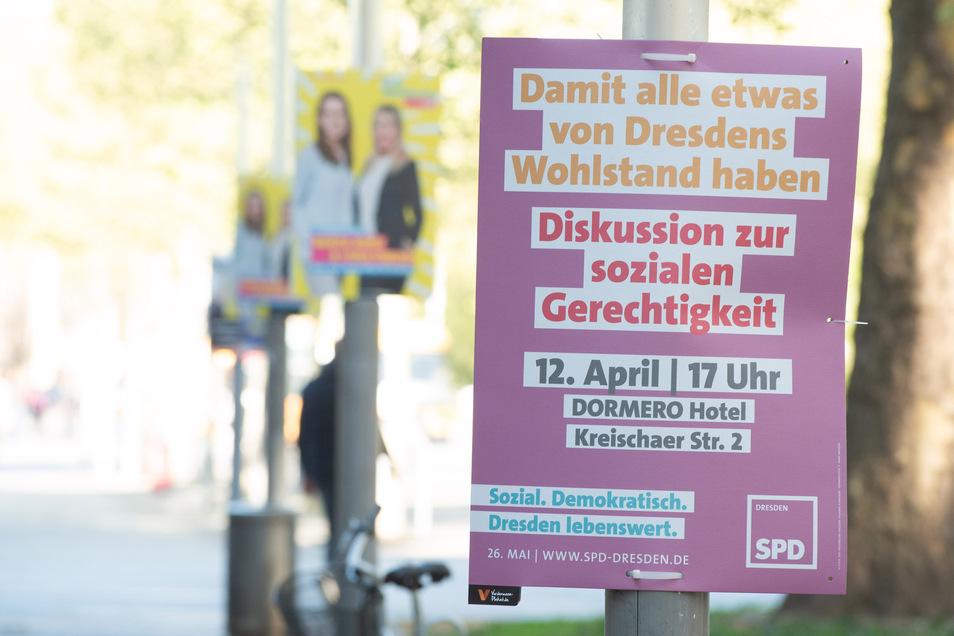 Viele Wahlen, viele Plakate: Im Mai war Dresden mit Wahlwerbung zugepflastert. Inzwischen sollten die Plakate längst weg sein.