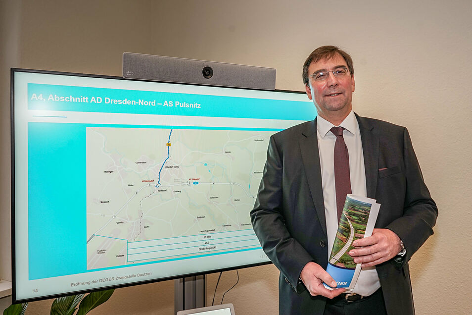 Michael Ditter ist bei der Projektgesellschaft Deges für Sachsen zuständig. Er leitet die Planungen für den Aus- und teilweisen Neubau der A 4. Dafür wurde in Bautzen extra eine Zweigstelle eingerichtet.