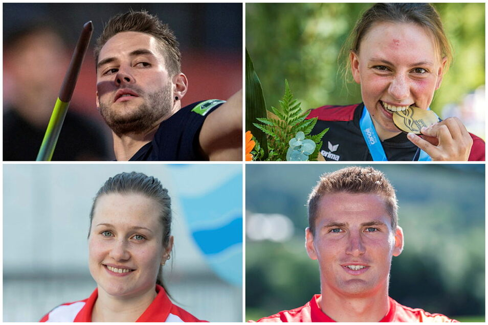 Sie sind Sachsens Olympia-Medaillen-Hoffnungen: Speerwerfer Johannes Vetter, Slalomkanutin Andrea Herzog, Rennkanute Tom Liebscher und Wasserspringerin Tina Punzel (v.o.l.i.UZS.).