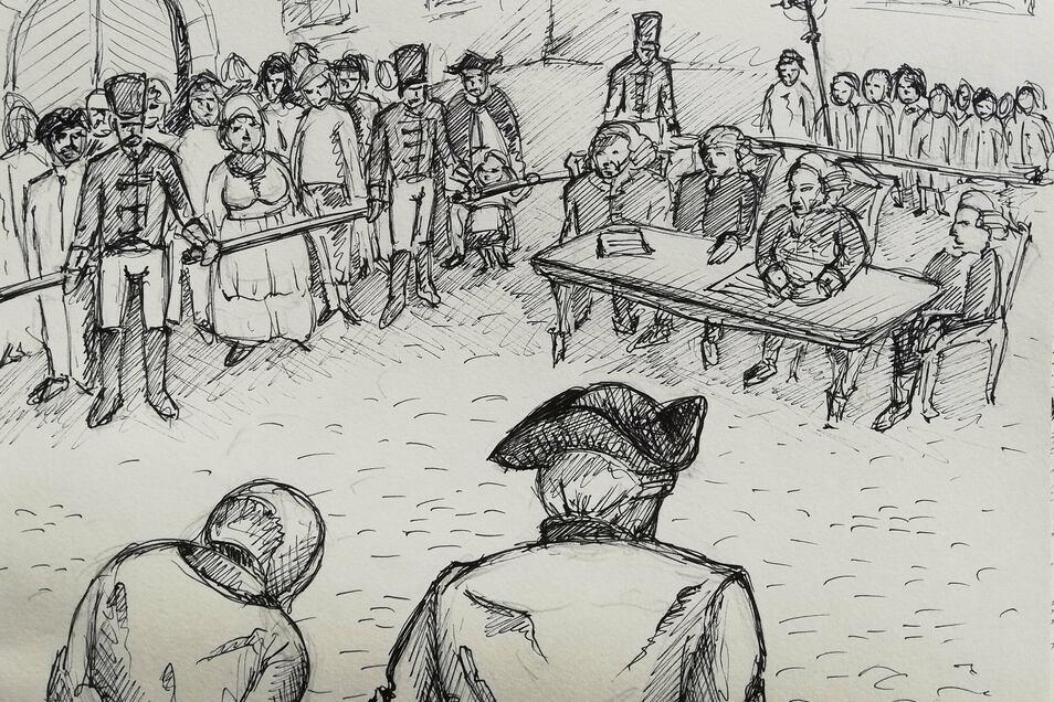 So stellt sich der Zeichner den Gerichtstag zu Bärenklau vor, auf dem der Stab über Rosina Heschel gebrochen wird. Anschließend führt man sie direkt zum Richtplatz.