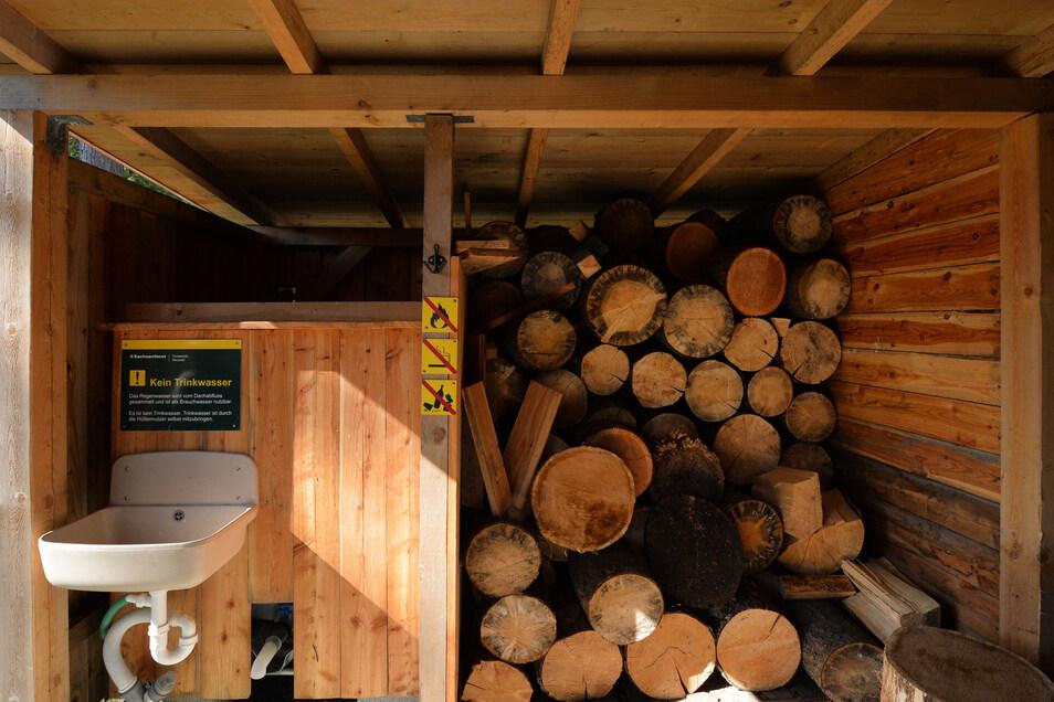 Feuerholz für den Ofen und Brauchwasser gibt es an der Hütte.