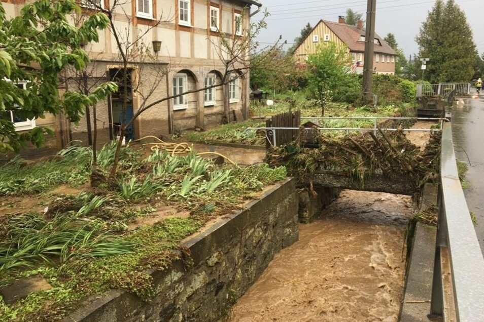 So sah es nach dem Gewitter am Muttertag 2017 im Niederdorf in Spitzkunnersdorf aus.