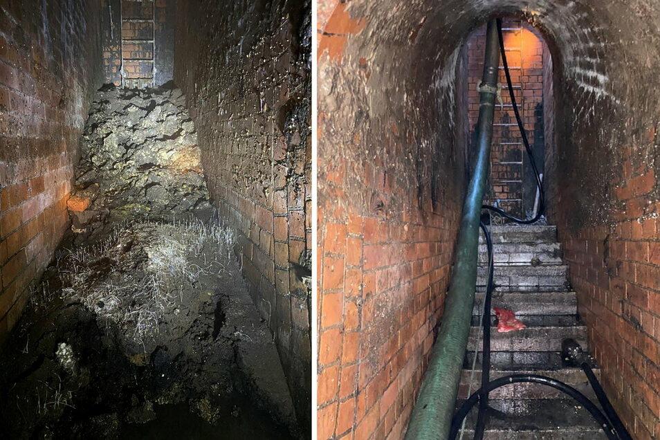 Der Tunnel der Kanalisation unter der Yabsley Street, Canary Wharf, einmal vor (l) und einmal nach der Entfernung eines Fettberges.