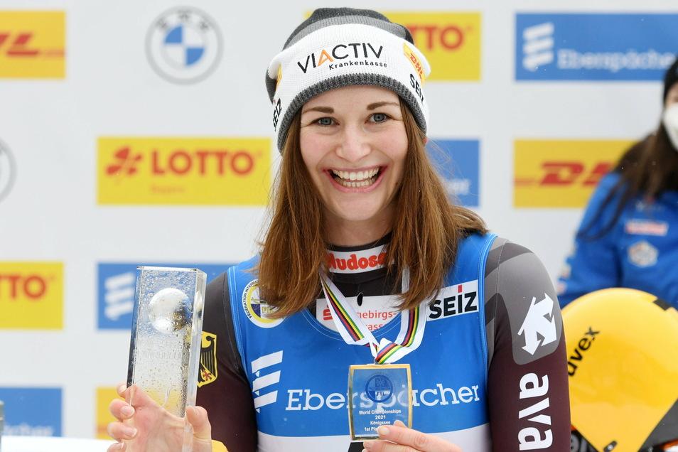 Am vergangenen Wochenende wurde Julia Taubotz erst Doppelweltmeisterin im Rodeln, am Donnerstag gewann sie auch die Wahl zur Sportlerin des Monats.