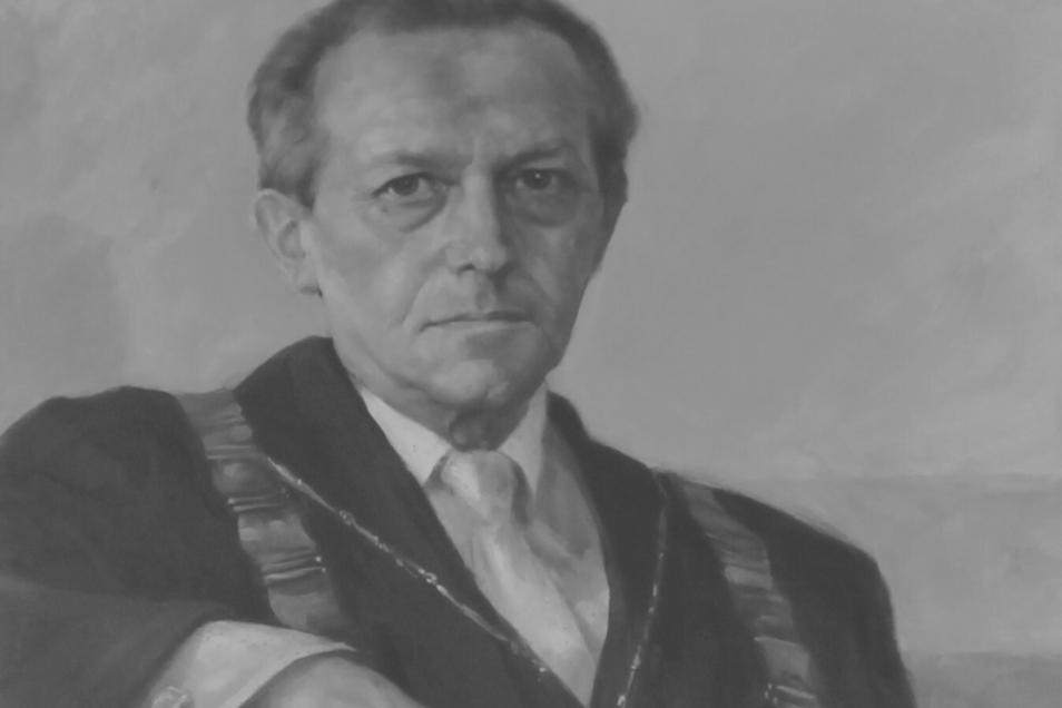 Dieses Gemälde von Gerhard Ackermann hängt in der Rektoren-Galerie im Haus I der Hochschule Zittau/Görlitz in Zittau.